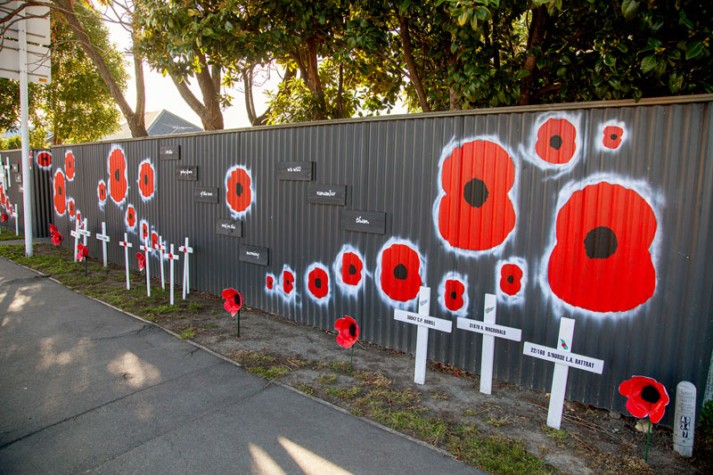 Preparing for Anzac Day on Main North Rd, Belfast.