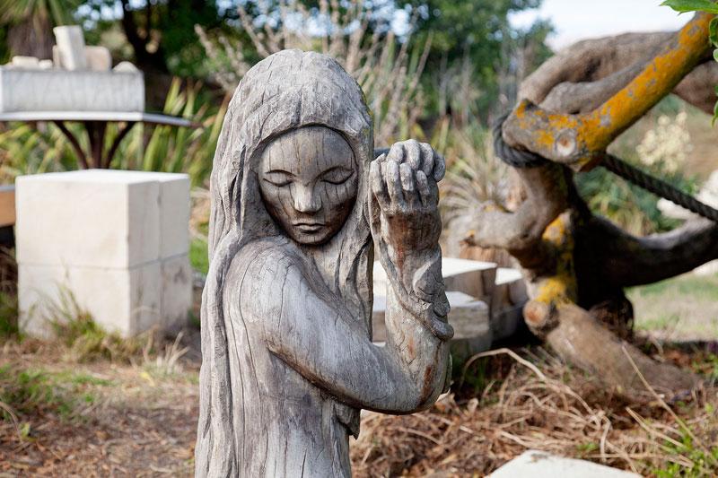 A wood sculpture at South Brighton Sculpture Park.