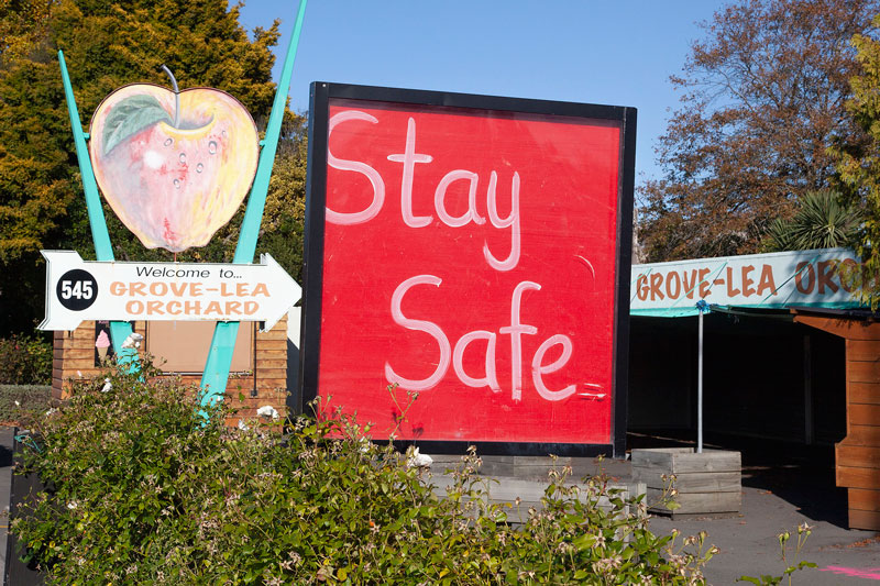 Stay Safe sign outside Grove-Lea orchard on Main North Rd, Northwood.