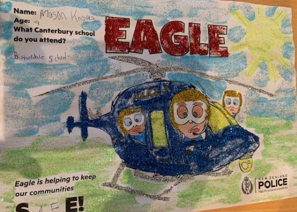 Bishopdale School pupil Mason Knowles, 9, showed the Eagle landing safely on the ground. Credit:...