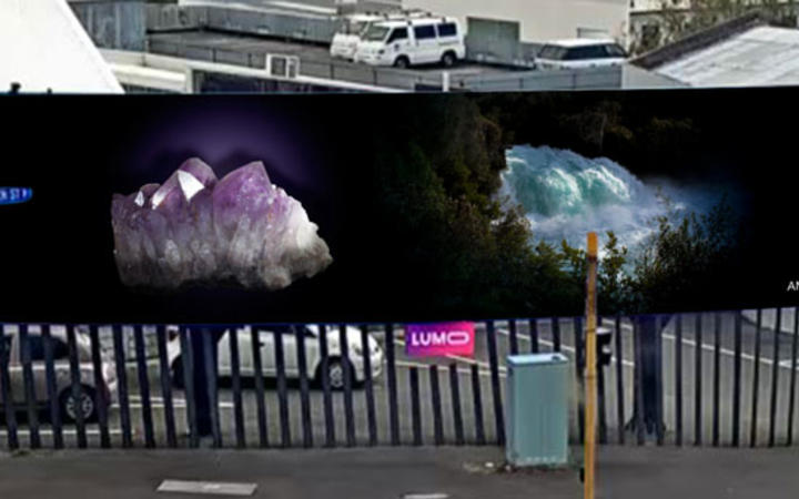 Greta Anderson's mural on a billboard. Photo: Supplied / Lumo-cam