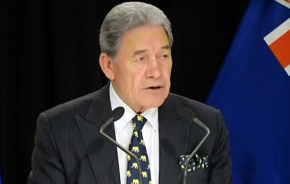 "Winston Peters told reporters that NZME buying rival news agency Stuff ""is in the greater public..."