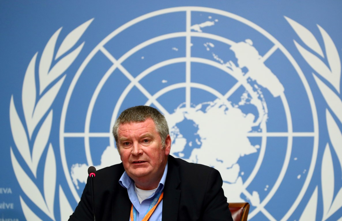 Mike Ryan, Executive Director of the World Health Organization, attends a news conference at the...