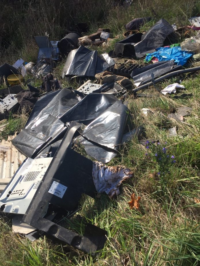 The stopbank rubbish, which has since been removed. Photo: Supplied
