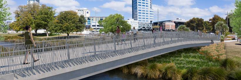 An artist's impression of the Avon River bridge connecting the City Promenade to Cambridge Tce....