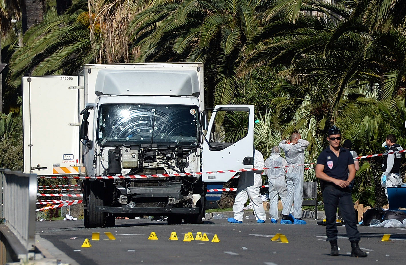 Police secure the area in Nice, France on July 15, 2016 . Photo: Getty Images