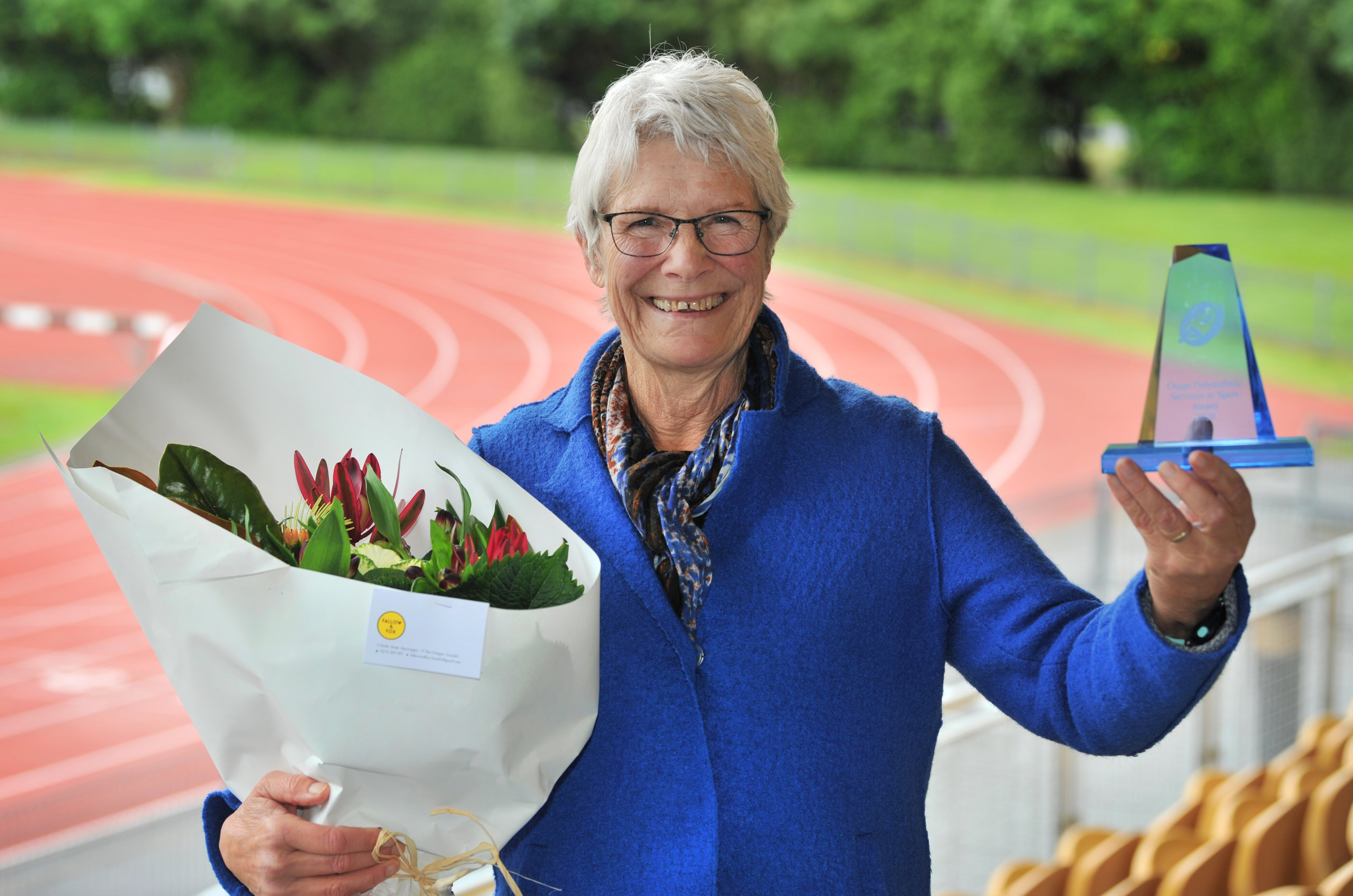 Service with a smile ... Joan Merrilees has won the Otago Polytechnic Services to Sport award....