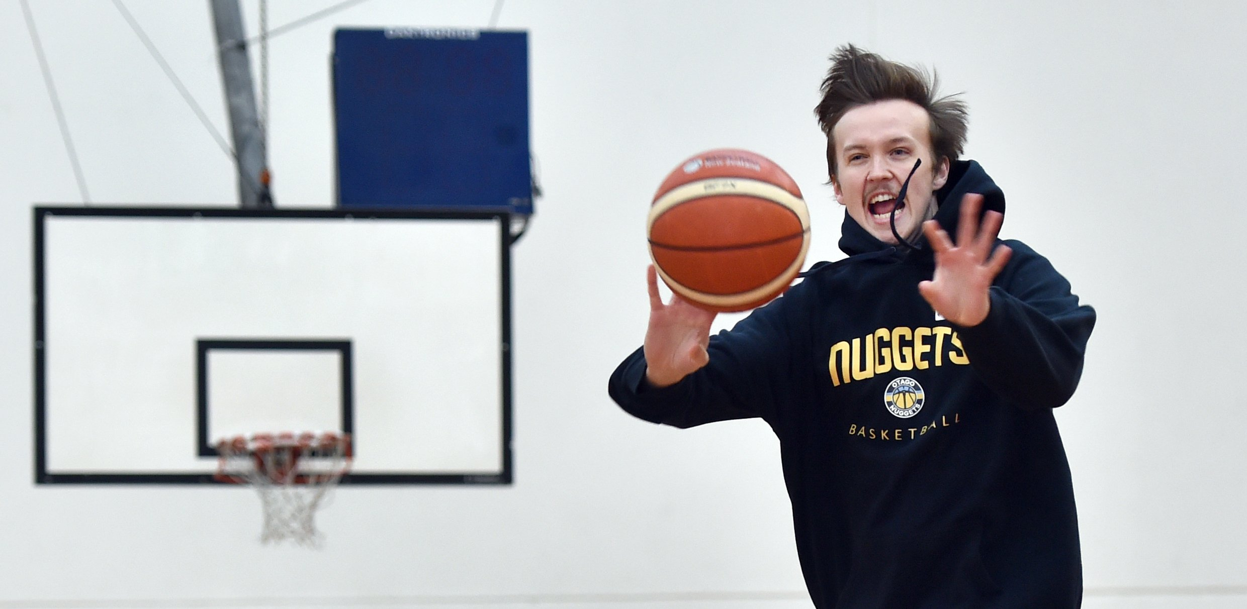 Otago Nuggets guard Josh Aitcheson gets in some training at the Edgar Centre last week. PHOTO...