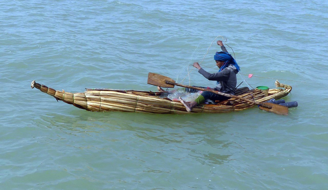A fisherman on Lake Tana uses a modern nylon net although his papyrus boat is a design that would...