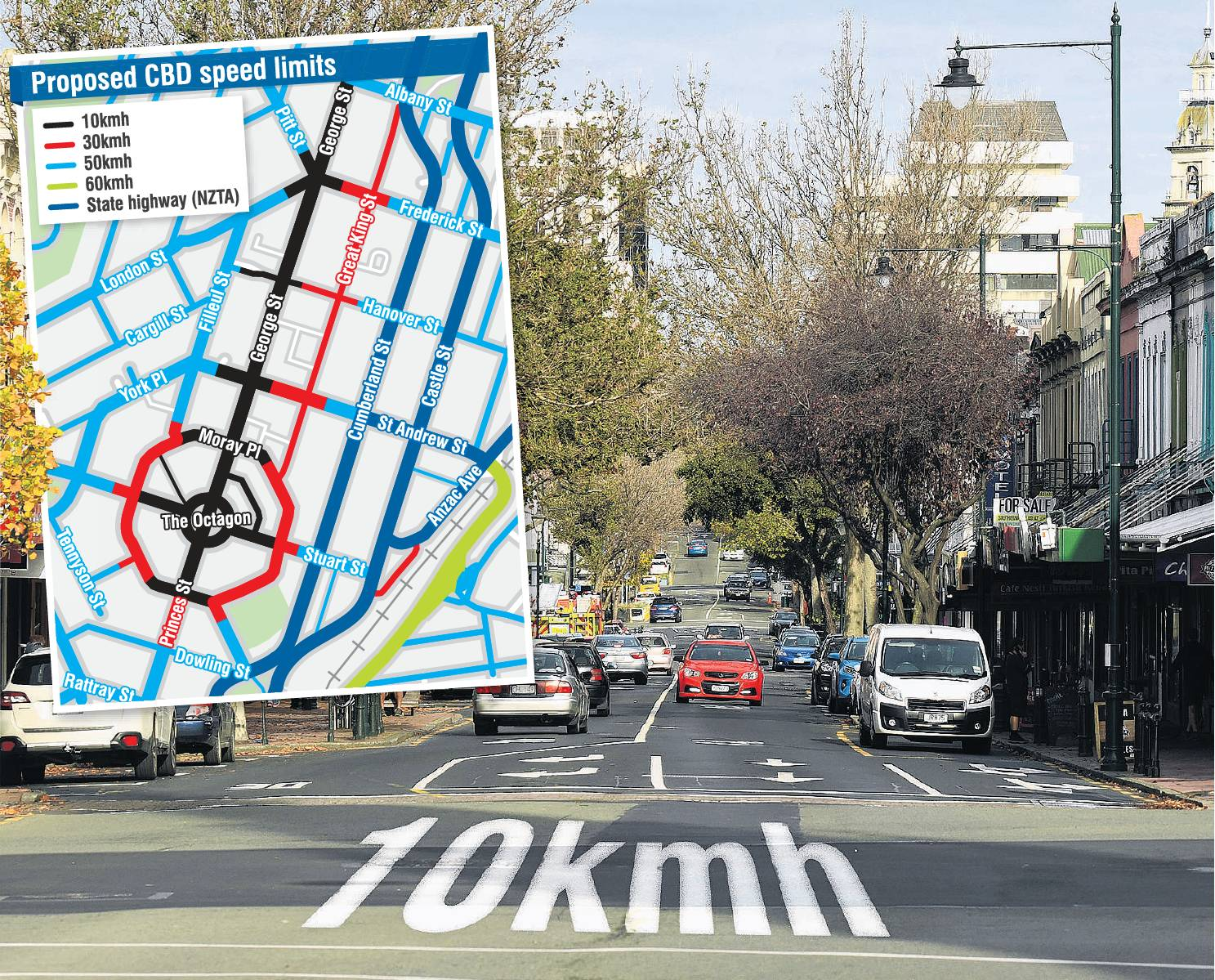 The Dunedin City Council's proposal for speed-limit changes in the central city. PHOTO: STEPHEN...
