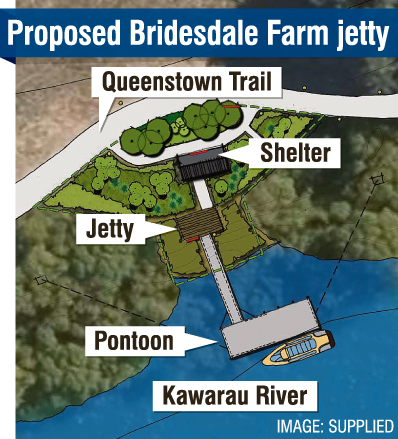 A jetty and shelter proposed for the Kawarau River near Bridesdale Farm. GRAPHICS: ODT
