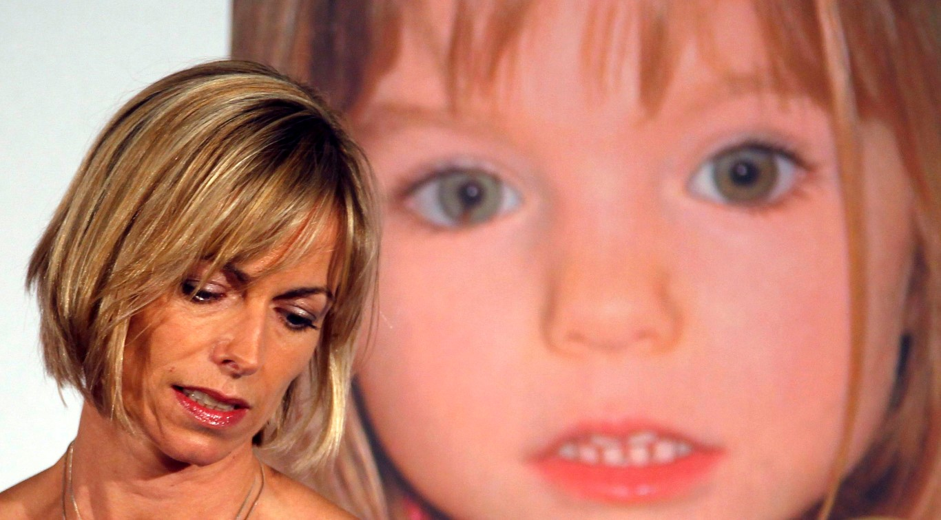 Kate McCann in front of a photo of her daughter Madeleine at a news conference in London in May,...