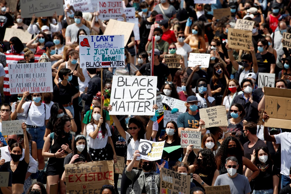 Demonstrators in Rome attend a protest against racial inequality in the aftermath of the death in...