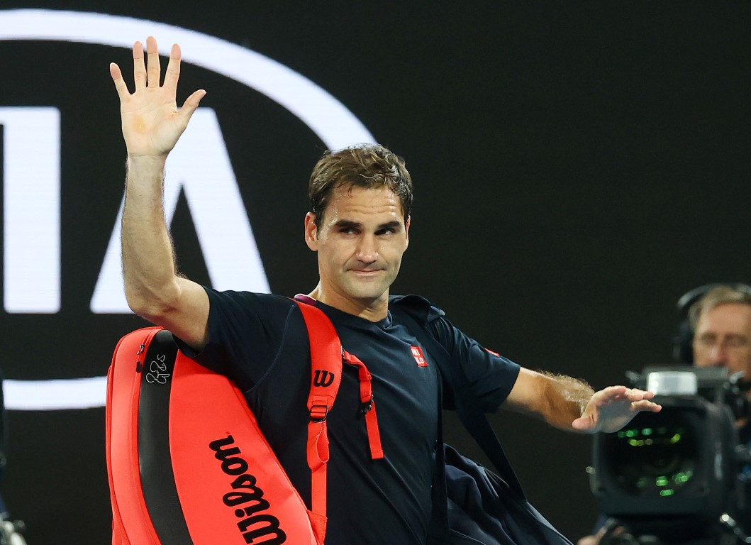 Roger Federer leaves the court after his loss to Novak Djokovic at the Australian Open in January...