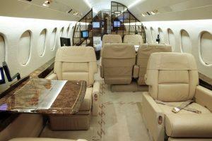 The swish interior of the Dassault Falcon 900. Photo: Supplied