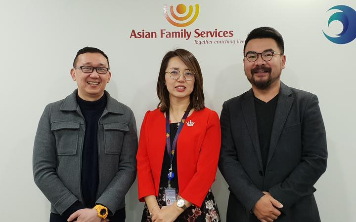 Asian Family Services deputy director Ivan Yeo, national director kelly Feng and Dr Andrew Zhu,...