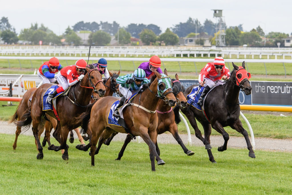 Morgenrood (far right) riding at Riccarton Park in 2018. Photo: Getty Images