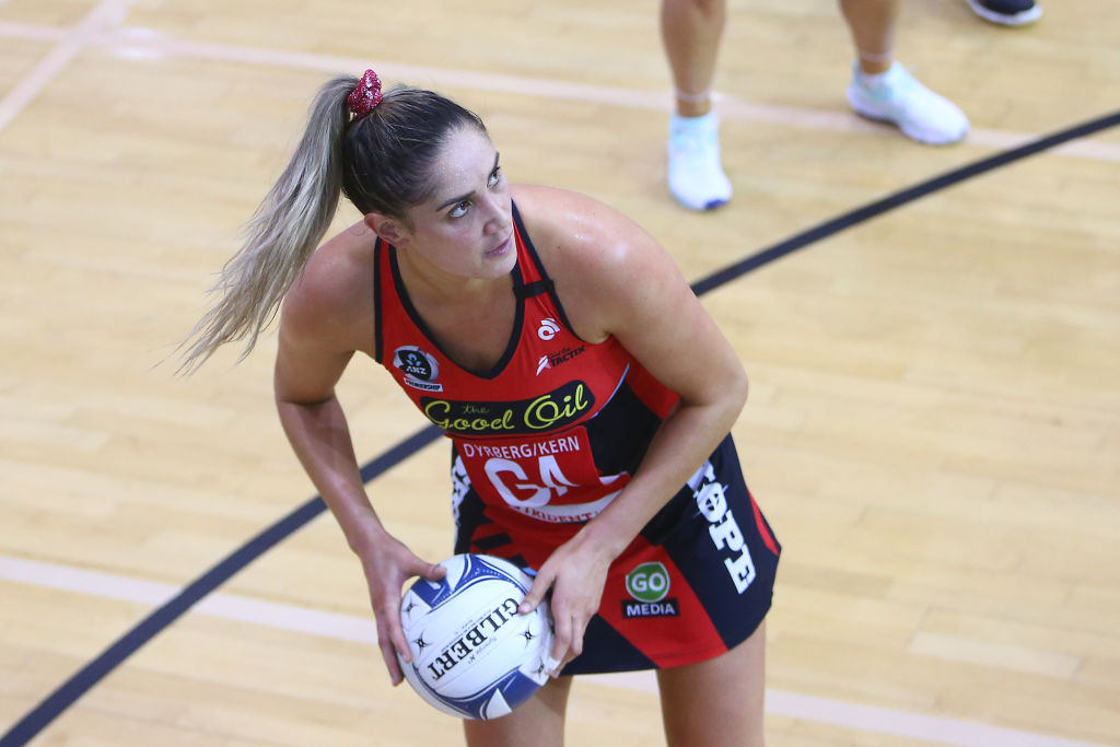 Tactix goal attack Te Paea Selby-Rickit. Photo: Getty