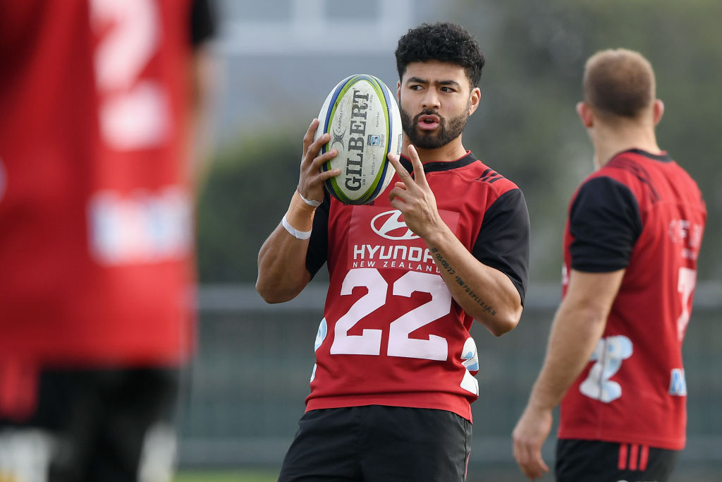 Richie Mo'unga during a Crusaders training session on Thursday. Photo: Getty Images