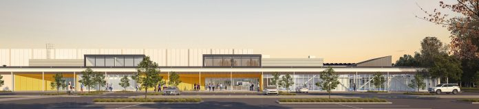 An artist's impression of the new $28 million multi-use stadium being built in Rangiora. Image:...