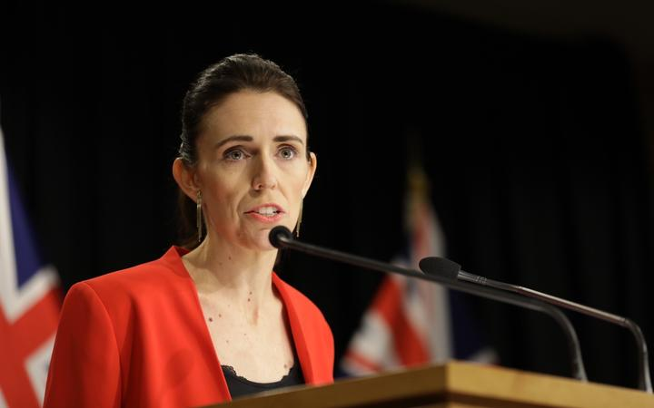 Jacinda Ardern speaking to reporters this morning. Photo: RNZ
