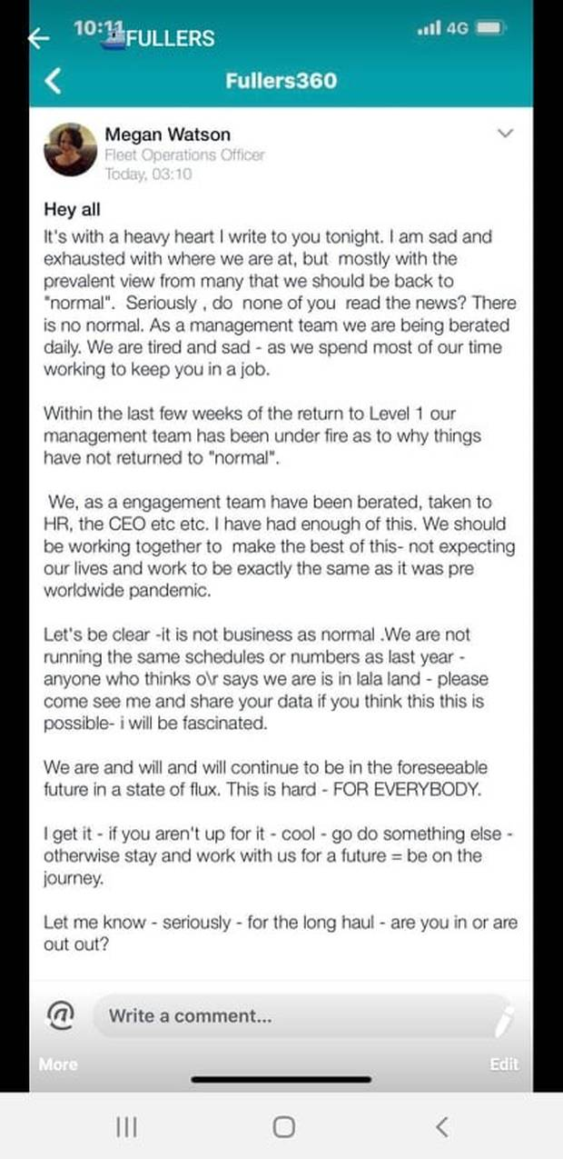The email to staff was posted on a Facebook page.