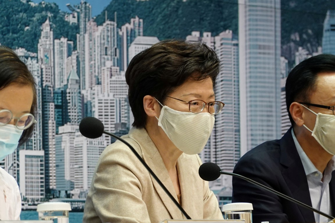 Chief Executive Carrie Lam speaks during a recent news conference in Hong Kong. Photo: Reuters