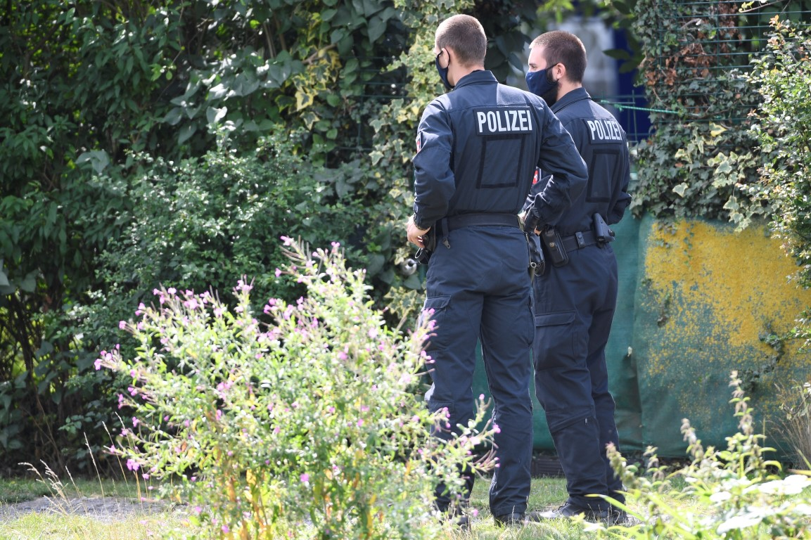 Police at the scene of the excavation in an allotment area near Hanover. Photo: Reuters