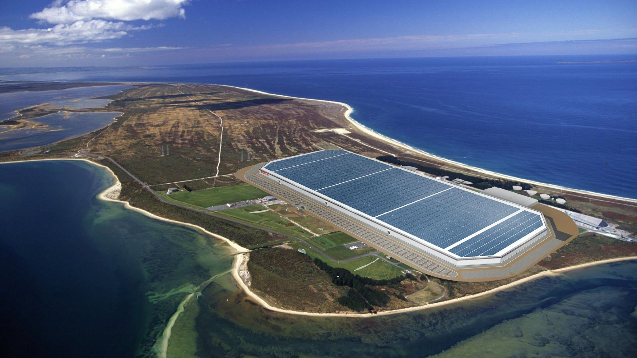 A supplied mock-up image showing what a Tesla Gigafactory could look like at  Tiwai Pt. Photo:...