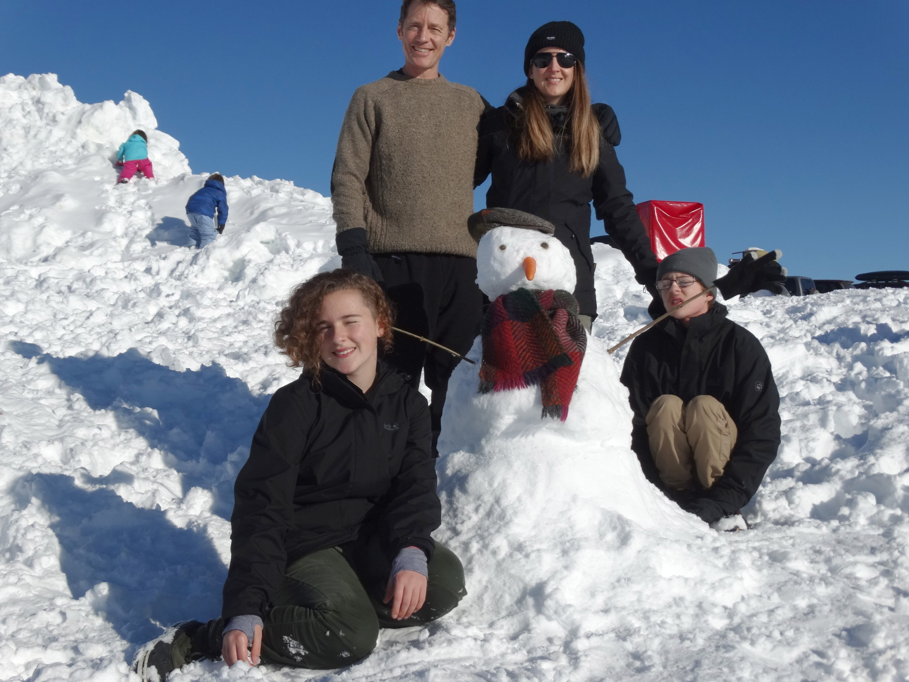 The Auckland family of Kaya (14), Debbie, Fionn (16) and Justin took advantage of freshly fallen...