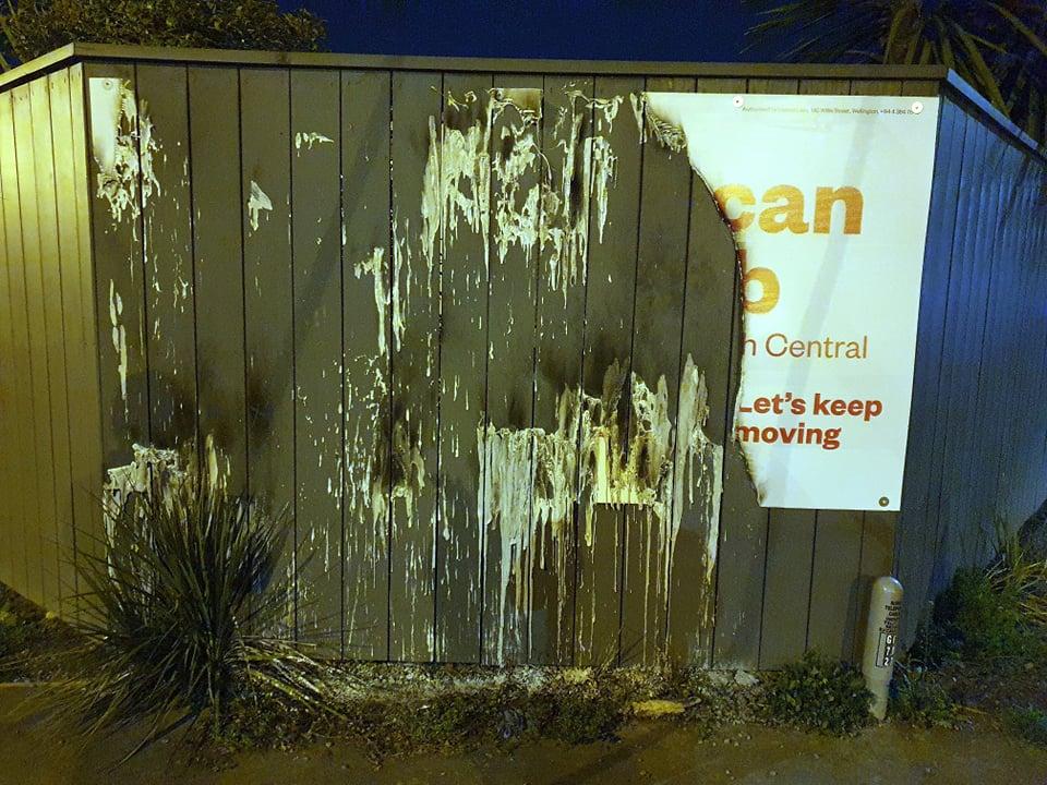 The remnants of Duncan Webb's election sign. Photo: Facebook