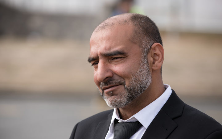 Yama Nabi at the burial of his father, Haji-Daoud Nabi. Photo: RNZ / Claire Eastham-Farrelly