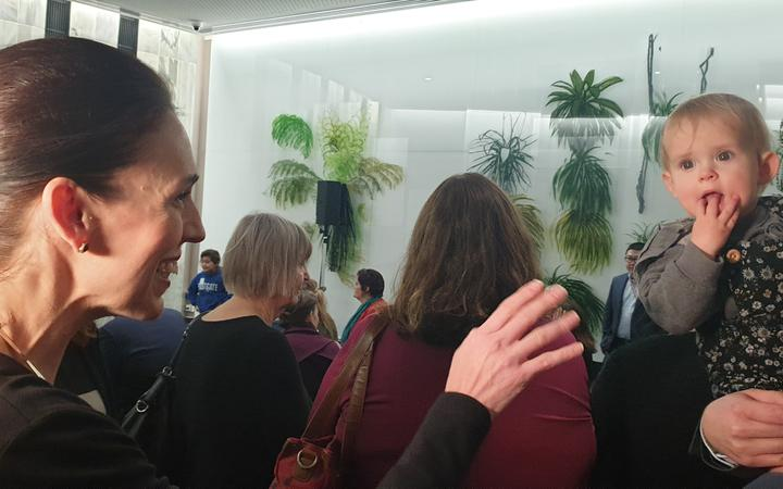 Prime Minister Jacinda Ardern at a paid parental leave event at Parliament on 1 July. Photo: RNZ ...