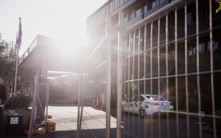 Police at the Grand Mercure Hotel in Wellington, which is being used as a managed isolation...