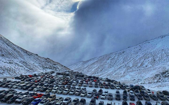 The car park full at The Remarkables ski resort in Queenstown yesterday. Photo: Supplied / Jacqui...