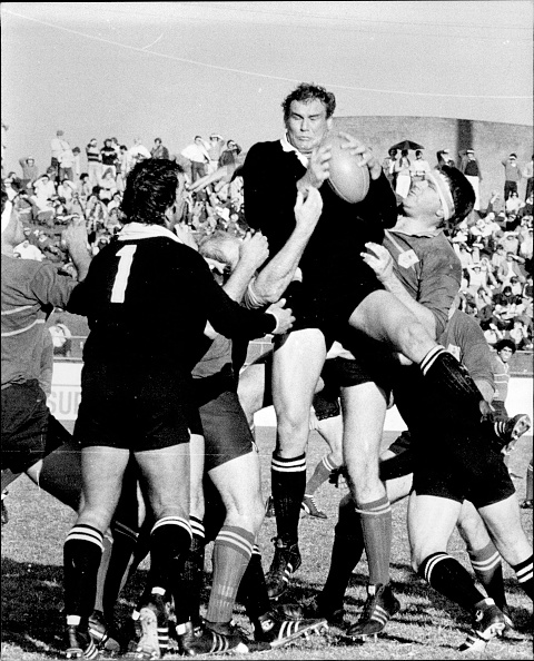 Andy Haden shows some of his lineout skills in a 1980 match between the touring All Blacks and...