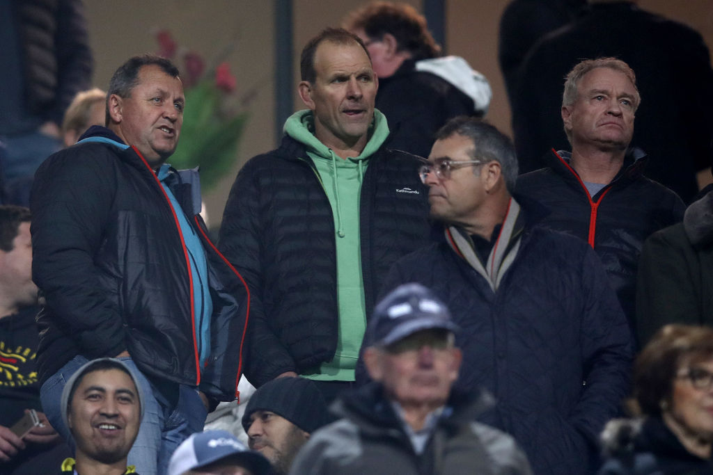 All Blacks head coach Ian Foster with assistant coach John Plumtree and selector Grant Fox. Photo...