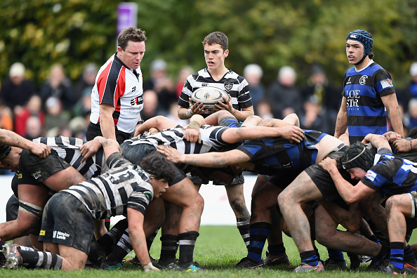 Louis Gunn, of Christ's College, looks to feed the scrum during the match between Christ's and...