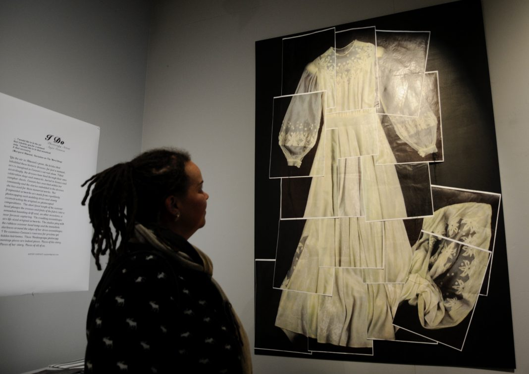 Jennine Bailey, of Christchurch, at the opening of photocopy artist Anjie Connon's solo...