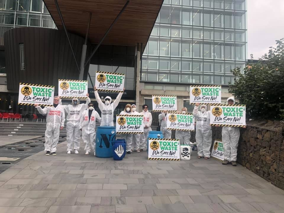 The residents outside of the city council office in March protesting the plan to put a hazardous...