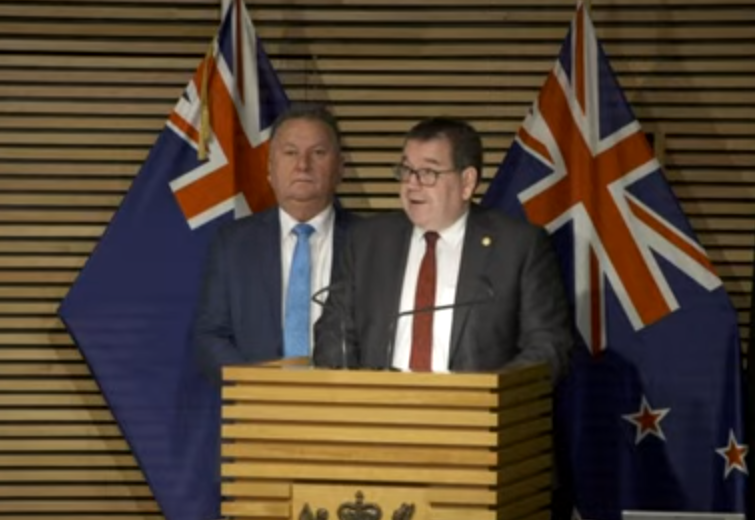 Finance Minister Grant Robertson (front) with Infrastructure Minister Shane Jones. Image: RNZ