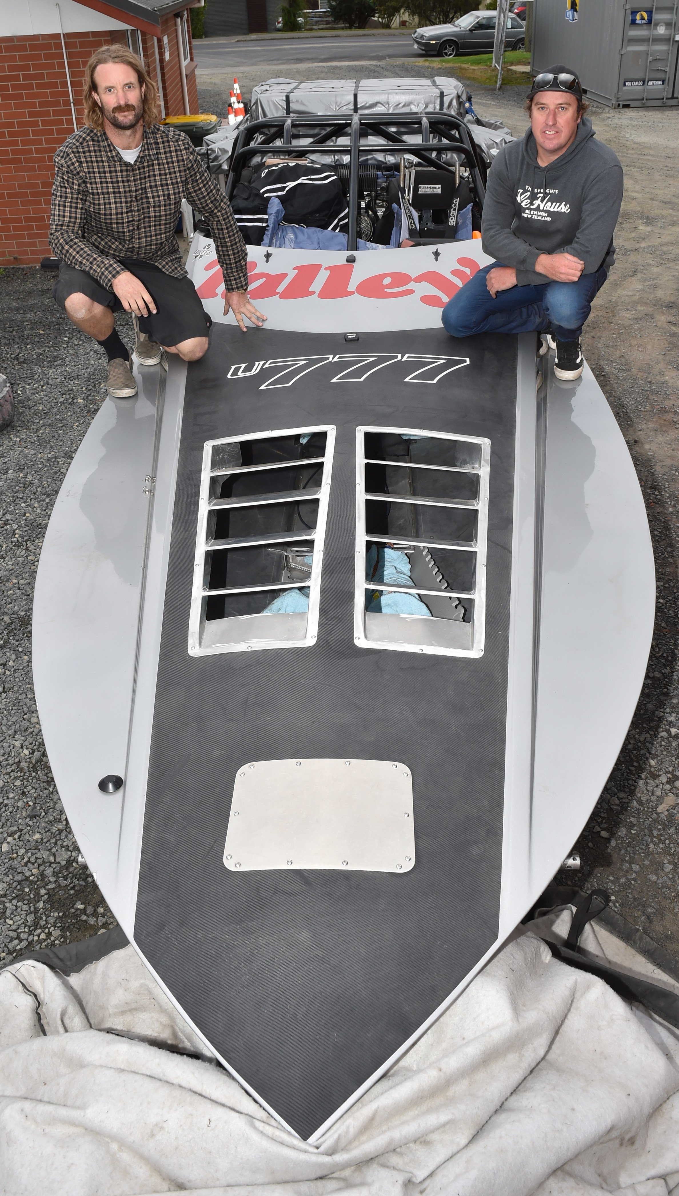 Driver Regan Williamson (right) and navigator Blair Christmas with their Talley's U777 jet-boat...