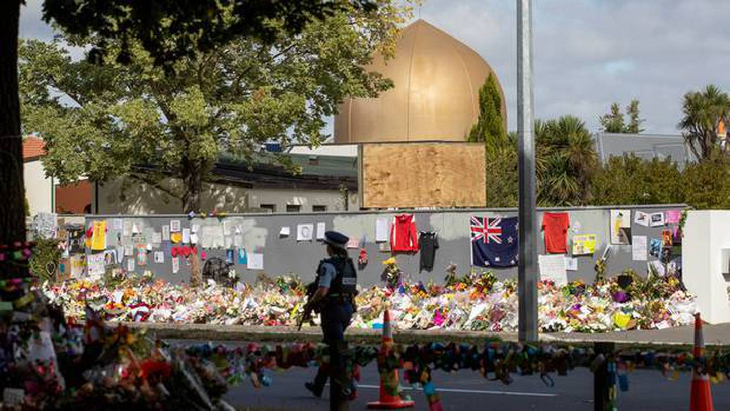 Flower tributes outside the Al Noor mosque, the first of two to be hit by a gunman in...