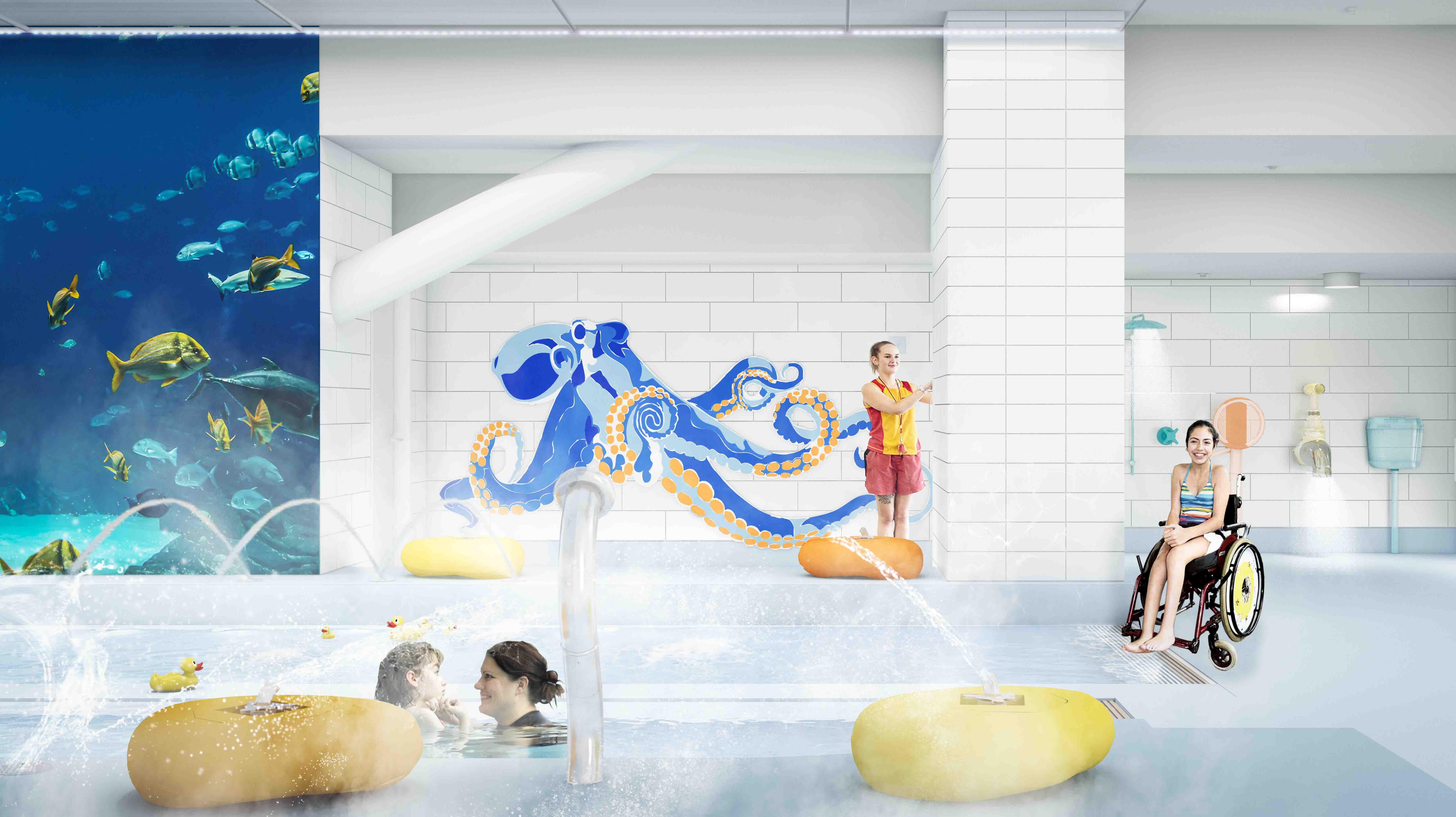 An artist's impression of the aquatic sensory experience area. Image: Newsline / CCC