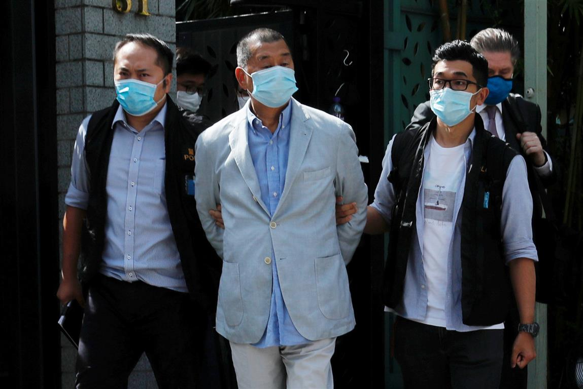 Media mogul Jimmy Lai Chee-ying is detained by the national security unit in Hong Kong. Photo:...