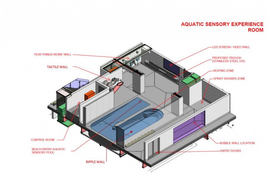 The aquatic sensory experience room layout. Image: Newsline / CCC