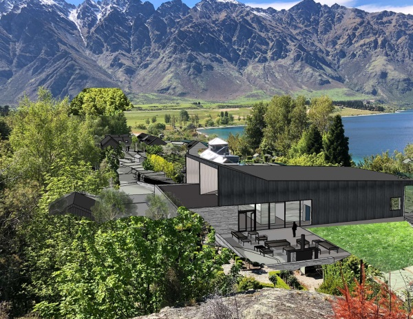 An artist's impression shows a proposed lecture hall at Hakitekura, on the shore of Lake Wakatipu...