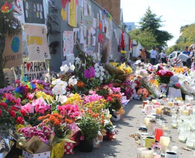 A wall of flowers near Al Noor Mosque just after the shootings. Photp: RNZ