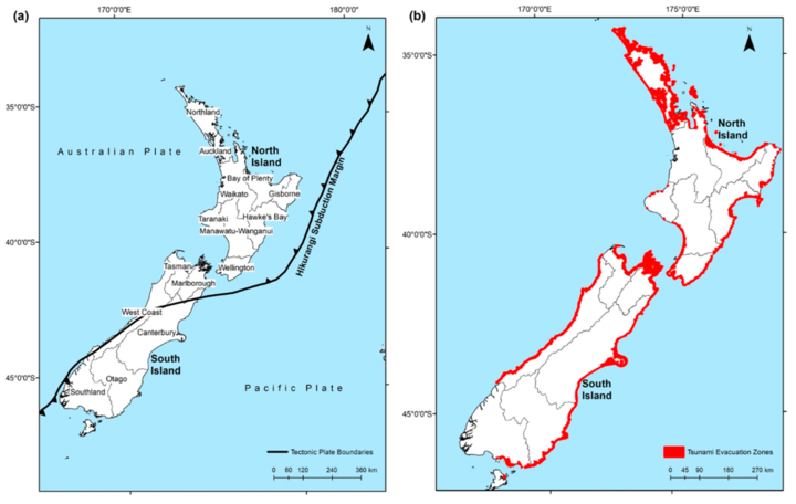 (a) New Zealand regional authority boundaries and (b) coastline coverage with mapped tsunami...