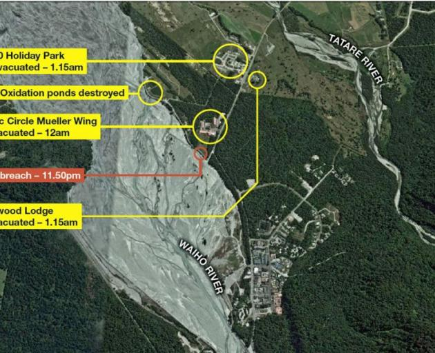 Places damaged by flooding at Franz Josef. Graphic: Greymouth Star